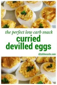 An easy low carb snack idea or even make a few for lunch. Curried devilled eggs are high protein and will keep hunger at bay for hours. | ditchthecarbs.com