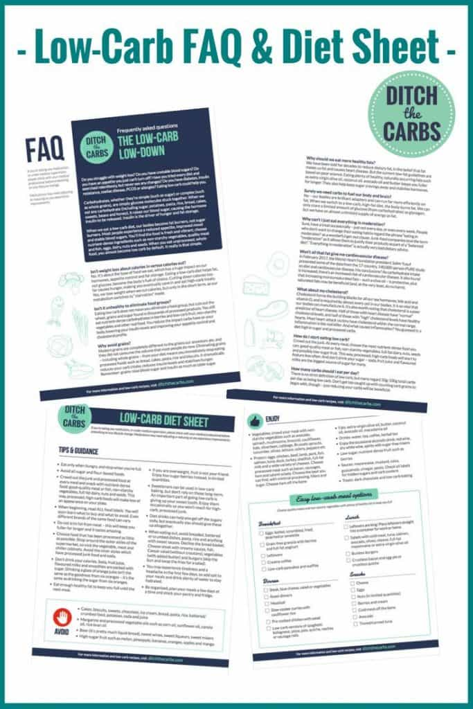 The best low-cab FAQ and printable diet sheet. FREE resources to get you started today. Sugar free, gluten free, grain free life awaits you. | ditchthecarbs.com