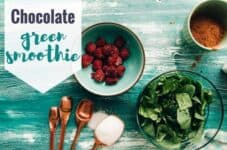 Chocolate green smoothie ingredients on a kitchen bench