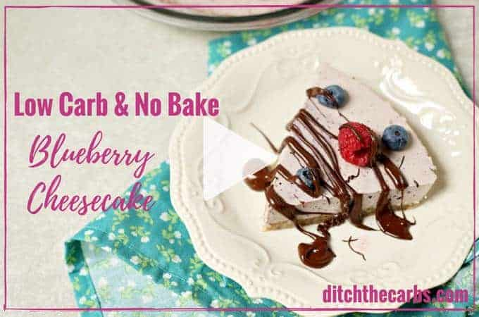 Super simple low-carb no bake blueberry cheesecake. It's gluten free, sugar free, grain free and quick and easy healthy recipe. | ditchthecarbs.com