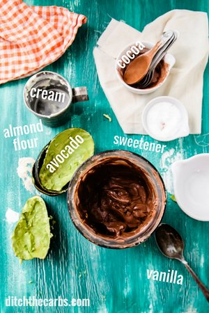 Sugar free chocolate avocado mousse. Come and learn how simple this blender recipe is. | ditchthecarbs.com