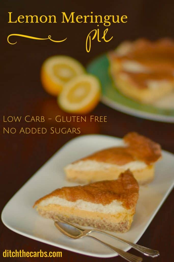 Super simple recipe for Low Carb Lemon Meringue Pie. No added sugar, gluten free, wheat free and simply delicious. A healthy alternative. #lowcarb #sugarfree #lchf | ditchthecarbs.com