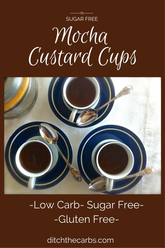 You have to try these simple Sugar Free Mocha Custards. Made with simple ingredients, with no added sugar, gluten free and a creamy mix of coffee and chocolate. #lowcarb #sugarfree #glutenfree | ditchthecarbs.com