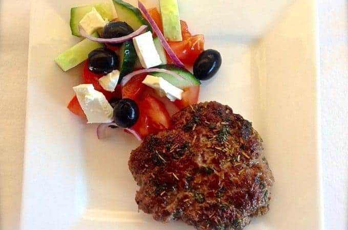 Lamb and Mint Burgers with a Greek Salad
