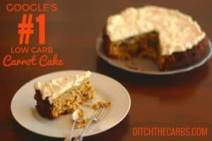 This is Google's no.1 Low Carb Carrot Cake. No added sugars, gluten free, grain free and wheat free. Simple recipe to follow and the most amazing cream cheese frosting to top it all off. #lowcarb #sugarfree | ditchthecarbs.com