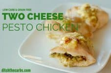 Basic basic low-carb cooking at it's best. Two cheese pesto chicken looks beautiful but is so incredibly easy to make. | ditchthecarbs.com