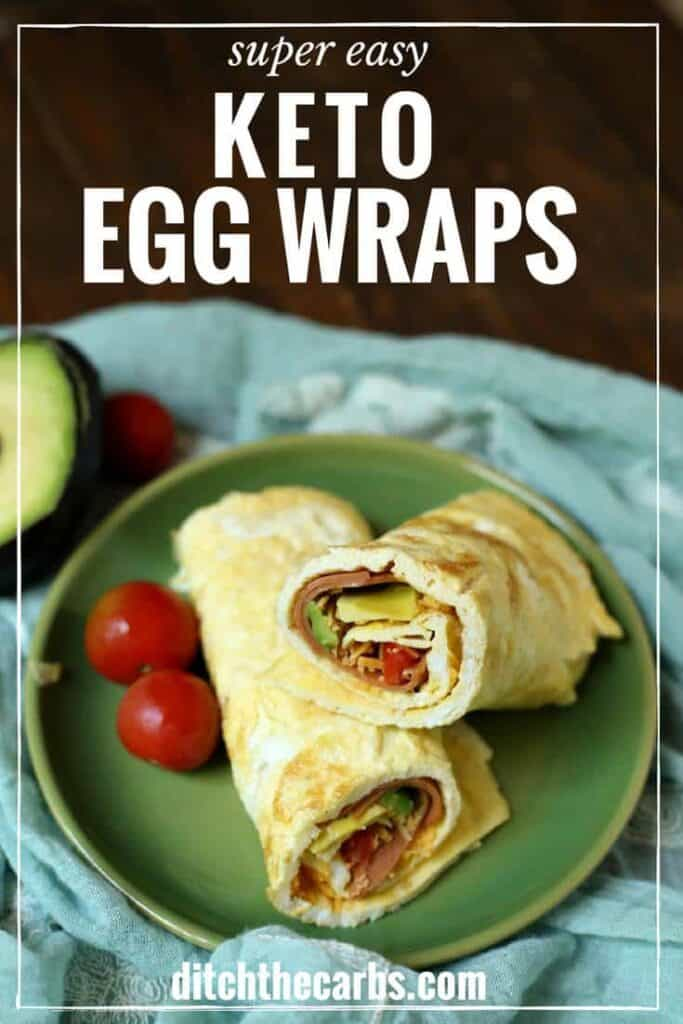Keto egg wraps are the perfect low carb snack, lunch or breakfast. The beauty is that you can fill them with almost anything you love. See the new cooking video just added too. Easy easy. | ditchthecarbs.com