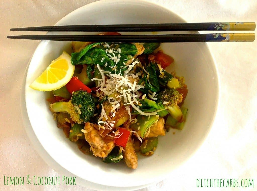 Super simple low carb lemon coconut pork. A great mid week quick dinner.  | ditchthecarbs.com