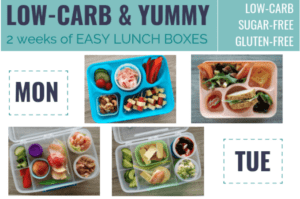 How to make low-carb lunch boxes. How to pack healthy lunch boxes. How to pack sugar-free lunch boxes. Low-carb kids simply ditch the junk food. #sugarfreekids #healthylunchboxes #lowcarblunches