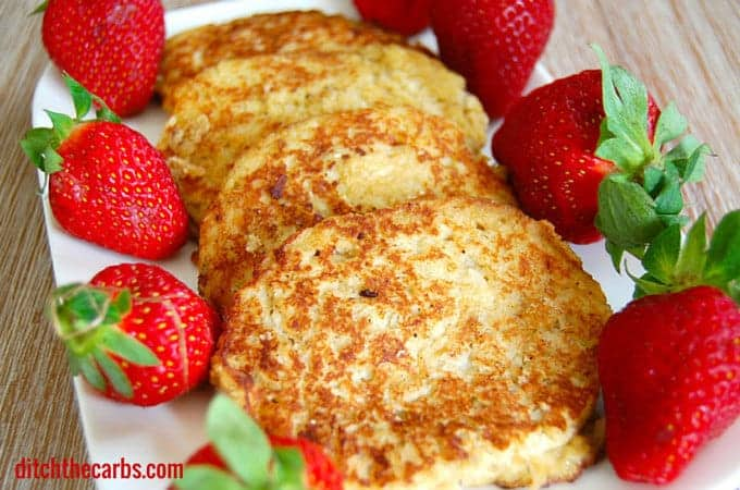 Coconut Pancake | ditchthecarbs.com | Wheat free, gluten free, grain free and no added sugar make these pancakes a great go-to for children. Breakfast, lunches or afternoon tea.