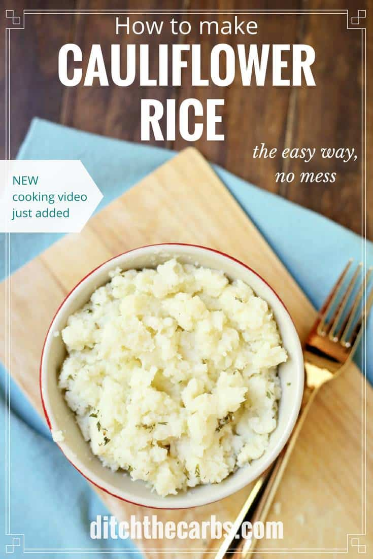 An absolute staple dish in all low carb families. Cauliflower rice is super easy and now this quick cooking video shows you how to make it the easy way - with no mess. | ditchthecarbs.com