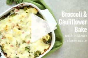 Watch the quick cooking video for broccoli and cauliflower bake, with a cheats cheese sauce. Low carb and nutritious. Gluten free, low car, LCHF, HFLC, Banting and primal. | ditchthecarbs.com