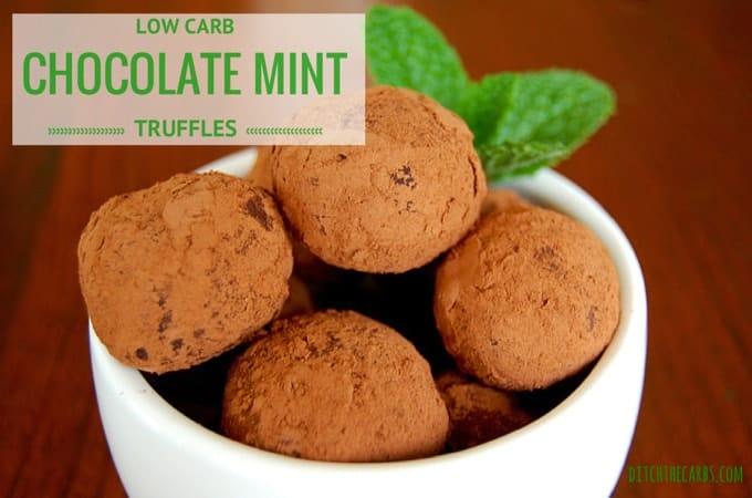 Low Carb & Sugar Free Chocolate Mint Truffles are a fabulous alternative to high sugar after dinner mints. Gluten free, low carb, sugar free, wheat free, LCHF, HFLC, Banting and primal. | ditchthecarbs.com