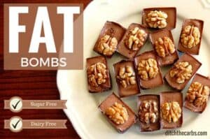 Chocolate Fat Bombs. Made with coconut oil, cocoa, walnuts and tahime. They are sugar free and dairy free. Paleo, primal, LCHF, Banting. | ditchthecarbs.com