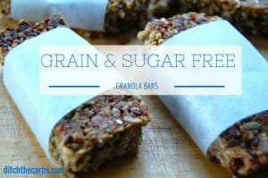 Super Simple Sugar And Grain Free Granola Bars. Made in the blender, these are a fabulous and healthy alternative to store bought granola/muesli bars. They are gluten free, grain free, wheat free and no added sugars. | ditchthecarbs.com