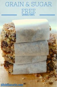 Grain Free Granola Bars wrapped in baking paper