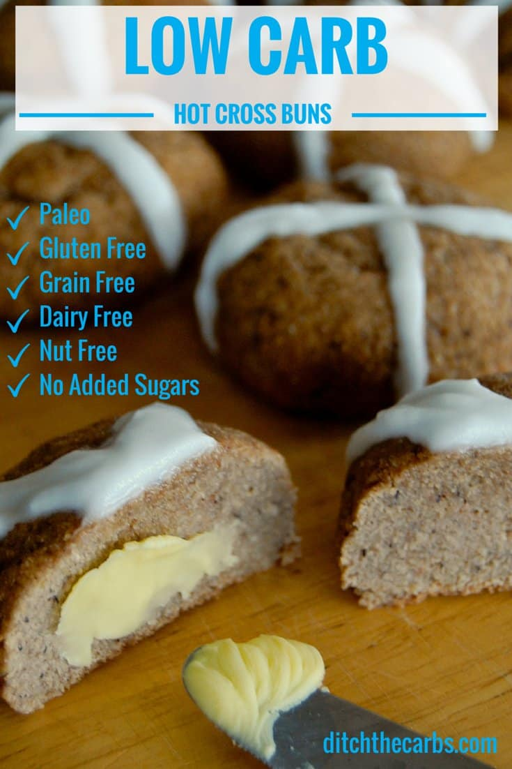 Low Carb Hot Cross Buns which are also dairy free, nut free, gluten free and no added sugar. Se the Paleo Easter Eggs too for a special treat. | ditchthecarbs.com
