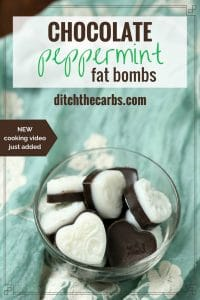 Peppermint fat bombs are the perfect antidote for sweet cravings, but without the sugar. And the magic secret? They will actually keep you full. | ditchthecarbs.com
