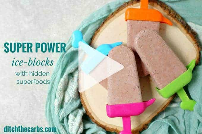 Warning: Super healthy super power ice blocks will have your kids wanting more. Perfect healthy sugar free snack in the hot summer. Can you guess the hidden ingredients? | ditchthecarbs.com