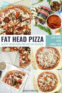 collage of images showing how to make fat head pizza