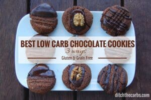 Try these today. An incredibly simple recipe for Best Low Carb Chocolate Cookies. They are gluten free, grain free, low carb and no added sugar. | ditchthecarbs.com
