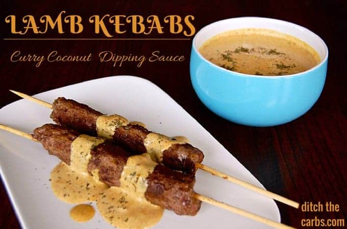 Lamb Kebabs With Coconut Curry Dipping Sauce. See how easy this is to make and packed with nutrition, especially if served with coconut cauliflower rice. Make it tonight and it will soon become a family favourite. | ditchthecarbs.com