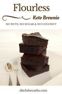 You simply have to try this flourless and nut free keto brownie. It has no added sugar, no coconut, no nuts and is simply the easiest thing to make, all using a stick blender! | ditchthecarbs.com
