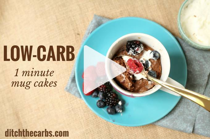 1 minute low carb mug cakes, now with a quick coking video. Perfect for an after school snack or individual portion control. Sugar free, gluten free, healthy and chocolate perfection. | ditchthecarbs.com