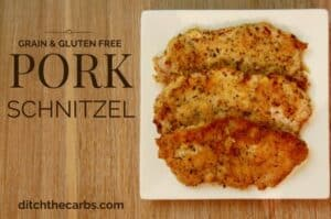 You have got to try this easy and healthy recipe for Grain Free Pork Schnitzel. You can use the 'crumb' mixture on many other types of meat. it is grain free, gluten free, low carb, wheat free, LCHF, HFLC, Paleo and Banting friendly. | ditchthecarbs.com