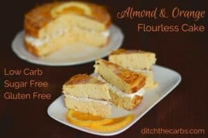 You have got to try this incredibly easy recipe for almond and orange flourless cake. Can you believe it is sugar free and gluten free too? #sugarfree #lowcarb | ditchthecarbs.com
