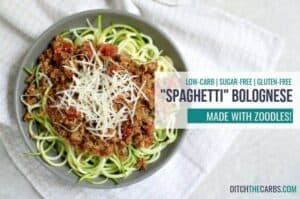 Delicious low-carb bolognese over zoodles.