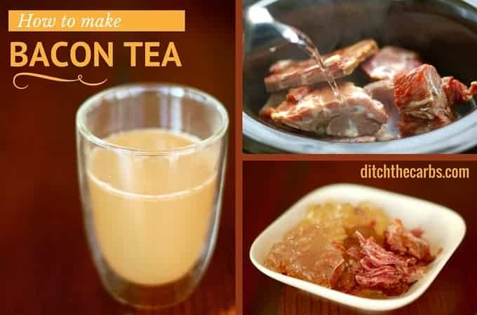 Seriously, how to make bacon tea! Broth is so last year, find out how to make bacon broth with only 2 ingredients and a slow cooker. Healthy, nutritious and incredibly easy recipe. #lowcarb #lchf #glutenfree | ditchthecarbs.com