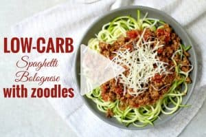Family favourite spaghetti Bolognese with zoodles. UDPATE - now with a quick cooking video. Heathy family dinner that's low carb, gluten free, wheat free that is incredibly fresh and nutritious. | ditchthecarbs.com