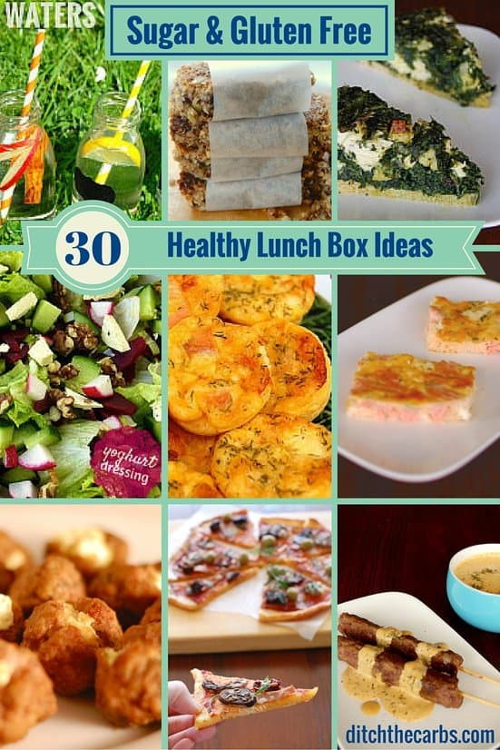 Look at these amazing healthy, sugar free, gluten free and nutritious ideas for lunches - school or work. The ultimate healthy lunch box ideas has it all. They also have a 1 month guide to children's lunch boxes to see and get ideas.| ditchthecarbs.com