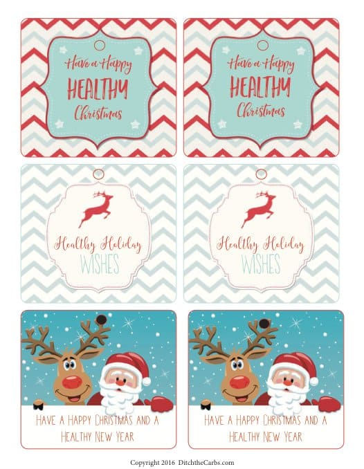 Beautiful FREE printable gift tags. Give someone the gift of health this year. | ditchthecarbs.com