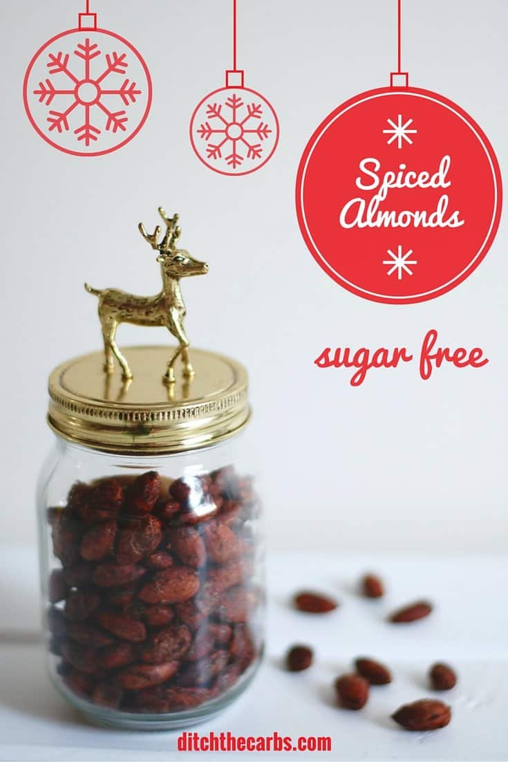 Now you can have sugar free spiced almonds this christmas. Such a lovely snack to take for christmas nibbles or as a gift in a beautiful jar. #sugarfree #lowcarb | ditchthecarbs.com