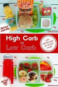 Low-Carb Kids - You have got to take a look at these 2 lunch boxes and compare a high carb to a low carb lunchbox. Without the processed food and the juice, you can easily transform your lunch boxes today. Come and learn how and read this fascinating series on low carb kids. #lowcarb #lchf | ditchthecarbs.com