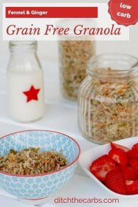 Tired of cereal? This has to be one of the best grain free granola recipes out there. Fennel and ginger is a beautiful combination to start your day with such a nutritious and incredible breakfast. | ditchthecarbs.com