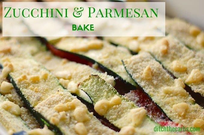 Stuck for ideas for vegetable sides on a low carb diet? Zucchini and parmesan bake with an almond crust is just simply perfect. Such an easy recipe but bowl over your friends by how delicious it is. | ditchthecarbs.com