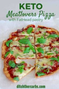 Keto meatlovers pizza with FatHead pastry is the most delicious pizza I have ever made. Low carb, grain free keto pizza heaven. | ditchthecarbs.com