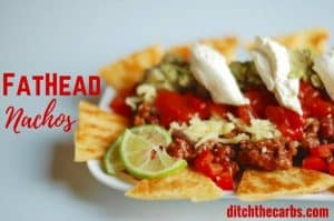FatHead nachos. Absolutely a stroke of genius. Low carb, grain free nacho heaven. | ditchthecarbs.com