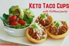 Keto taco cups with FatHead pastry is absolutely incredible. Low carb, grain free taco heaven. | ditchthecarbs.com