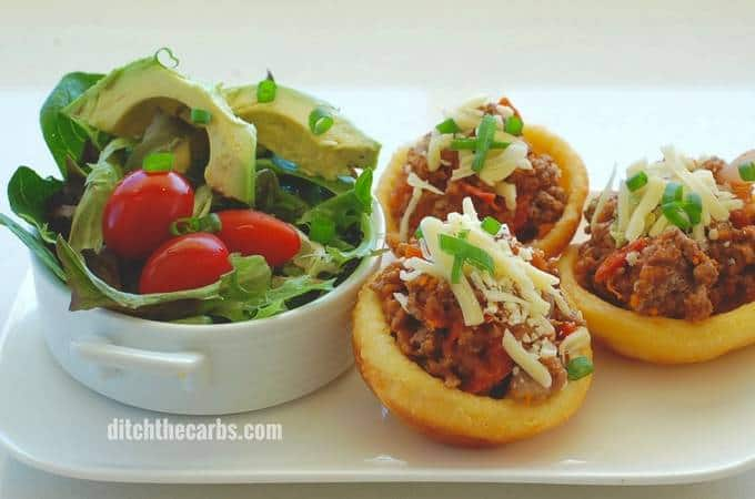 Keto taco cups with Fat Head pastry is absolutely incredible. Low carb, grain free taco heaven. | ditchthecarbs.com