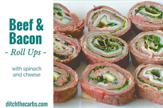 Beef and bacon roll ups can be made as a meal, snack, appetiser or school lunch. The possibilities are endless. | ditchthecarbs.com