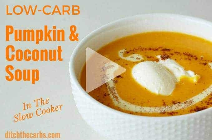Watch how to make low-carb pumpkin and coconut soup in the slow cooker. Super tasty and easy recipe that is sugar free, gluten free and healthy. Throw it on in the morning, and it's ready when you come home.