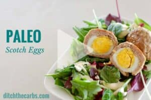 Keto Paleo Scotch eggs has had a makeover. The recipe just got easier with a new cooking video. Grain free, gluten free, healthy and nutritious. Perfect for lunches, school, work. | ditchthecarbs.com
