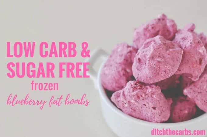 Incredible low carb and sugar free frozen blueberry fat bombs. Check it out!! | ditchthecarbs.com