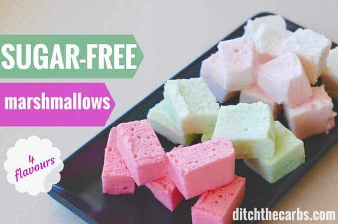 These are so cute! Sugar free marshmallows 4 flavours to choose from. Perfect to keep sweet cravings away. Keto, low carb and plate. | ditchthecarbs.com