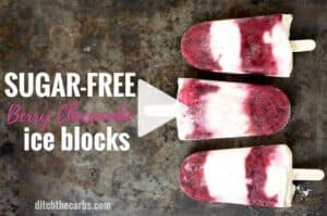 Check out this easy recipe for sugar free berry cheesecake ice blocks (popsicles). Perfect for a healthy summer snack. | ditchthecarbs.com