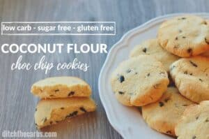 Quick and easy sugar free, gluten free, coconut flour chocolate chip cookies. | ditchthecarbs.com